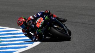 Fabio Quartararo (Yamaha) lors du GP d'Espagne, sur le circuit de Jerez, le 2 mai 2021