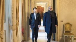 Guiseppe Conte a reçu le maréchal Haftar au palais Chigi, à Rome, le 8 janvier 2020.