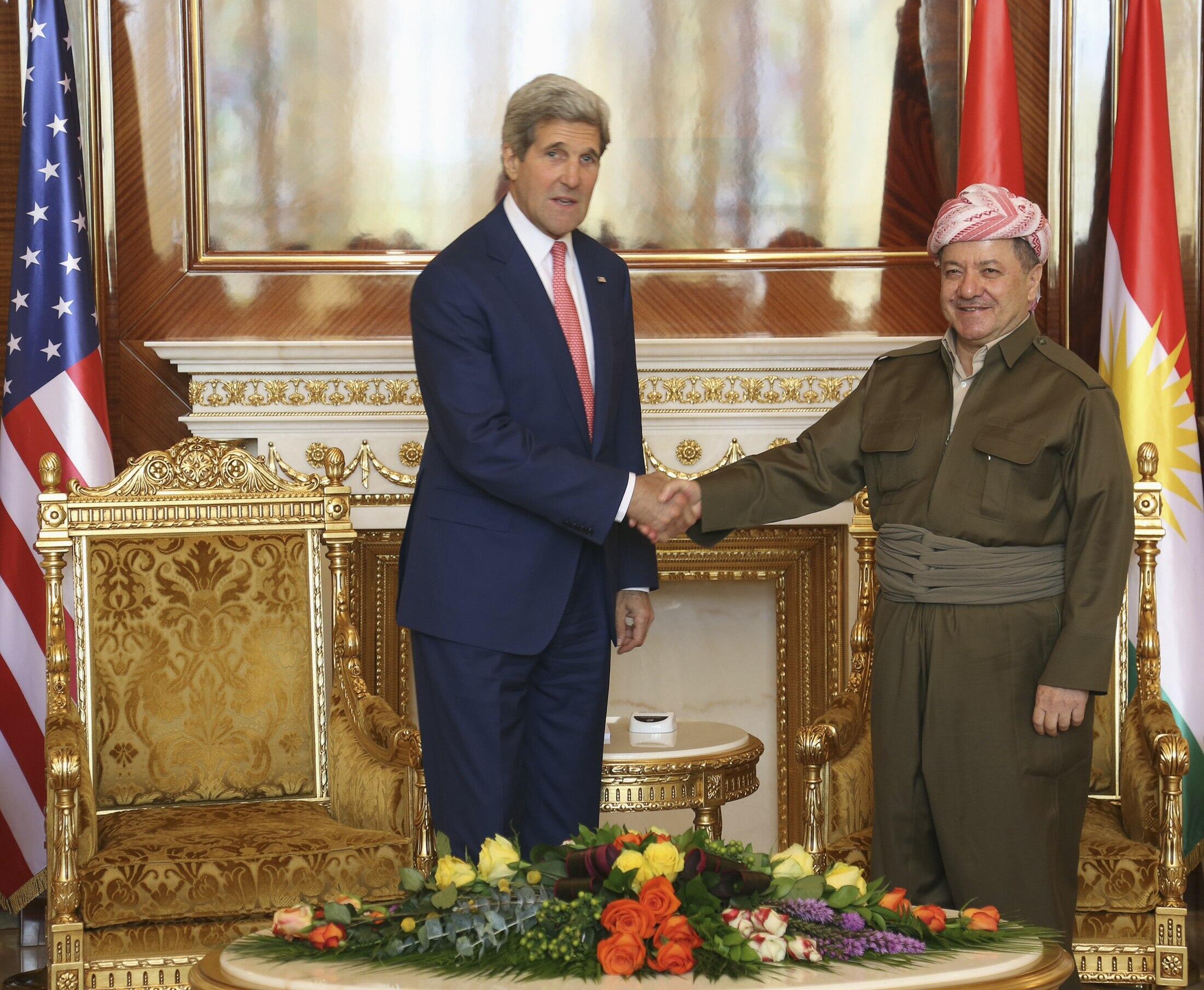 Госсекретарь США Джон Керри и президент Ирака Масуд Барзани в Эрбиле 24 июня 2014