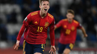 Dani Olmo celebrates after scoring Spain's stoppage-time winner against Georgia in Tbilisi
