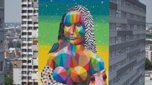 La Gioconda del artista Okuda, un mural realizado en el distrito 13 de París