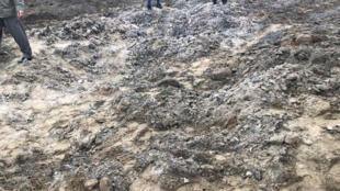 Un champ frappé par un missile iranien aux abords d'Erbil, en Irak, le 8 janvier 2020.