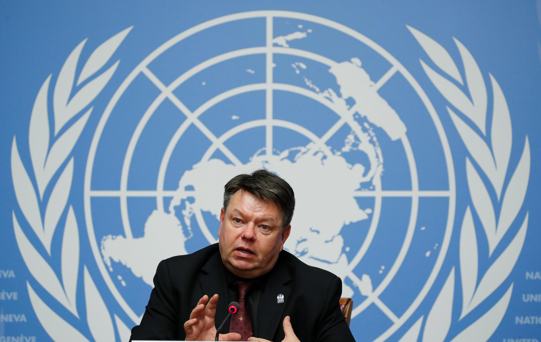 Secretário-Geral da Organização Meteorológica Mundial (OMM) Petteri Taalas participa de uma coletiva de imprensa após a divulgação do relatório do Painel Intergovernamental das Nações Unidas sobre Mudanças Climáticas (IPCC) nas Nações Unidas em Genebra.
