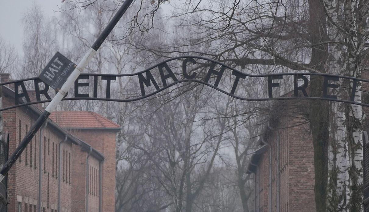 """Ворота для въезда в Освенцим с надписью """"Труд освобождает"""" . В Освенциме погибли более 1 400 000 человек, большая часть из них была евреями."""