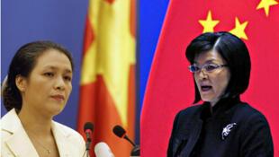 Phát ngôn viên bộ Ngoại giao Việt Nam Nguyễn Phương Nga (trái), bà Khương Du, phát ngôn viên bộ Ngoại giao Trung Quốc (ảnh ghép)