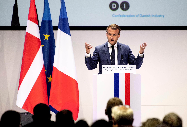 Le président français Emmanuel Macron a participé à un forum économique franco-danois, le 29 août 2018 à Copenhague.