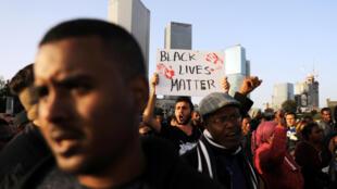 Manifestation à Tel Aviv, le 30 janvier 2019, contres les brutalités policières après la mort d'un Israélien d'origine éthiopienne, Yehuda Biadga.