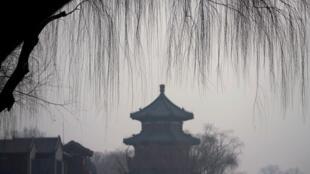 北京後海,霧霾中2017年12月29號
