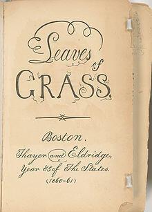 Deuxième édition (1860-61) du recueil de poèmes Leaves of Grass de Walt Whiman, précurseur de la poésie moderne américaine.