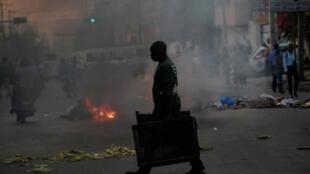 Lors des manifestations organisées à Port-au-Prince, le 19 février 2020.