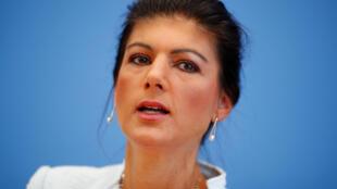 Sahra Wagenknecht durante la rueda de prensa, este 4 de septiembre de 2018 en Berlín.