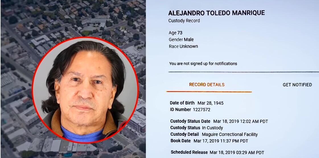 Fotografía de Alejandro Toledo tomada por la policía del condado de San Mateo, al sur de San Francisco.