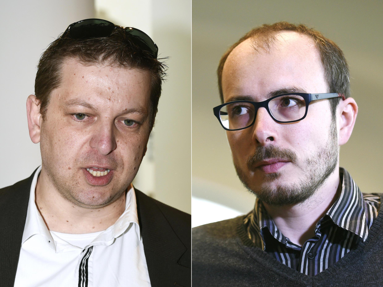Photomontage des deux ex-employés du cabinet d'audit PwC Raphaël Halet (g) et Antoine Delcourt.