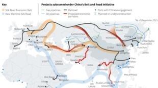 """中國""""一帶一路""""存檔圖片 Image d'archive: Overview of China's Belt and Road Initiative"""