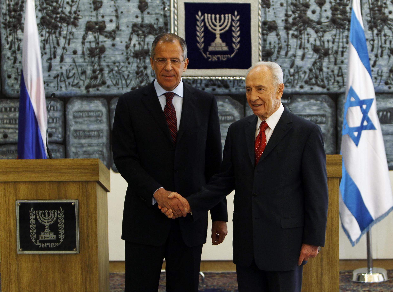 Сергей Лавров и Шимон Перес на встрече в Иерусалиме