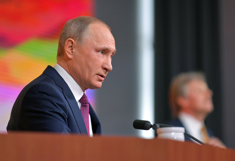 Tổng thống Nga Vladimir Putin tại cuộc họp báo tổng kết hàng năm, Matxcơva, ngày 14/12/2017.