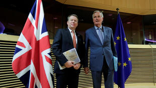 Britain's chief Brexit negotiator David Frost (left) and his European Union counterpart Michel Barnier, seen here at the launch of talks on future trade ties in Brussels in March, were to meet for a new round of discussions in London on Monday.