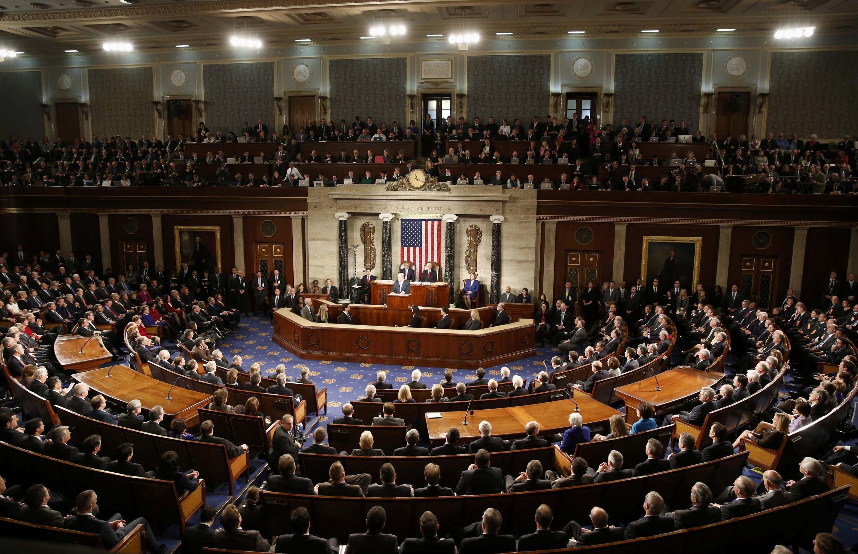 O primeiro-ministro de Israel, Benjamin Netanyahu discursa diante do Congresso americano, em Washington, nesta terça-feira, 3 de março de 2015.