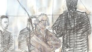 A file photo taken on November 17, 2017 of a court sketch shows Abdelhakim Dekhar (C) on trial.
