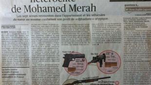 Reportagem do 'Le Figaro' desta terça-feira discute o arsenal de armas de Mohamed Merah.