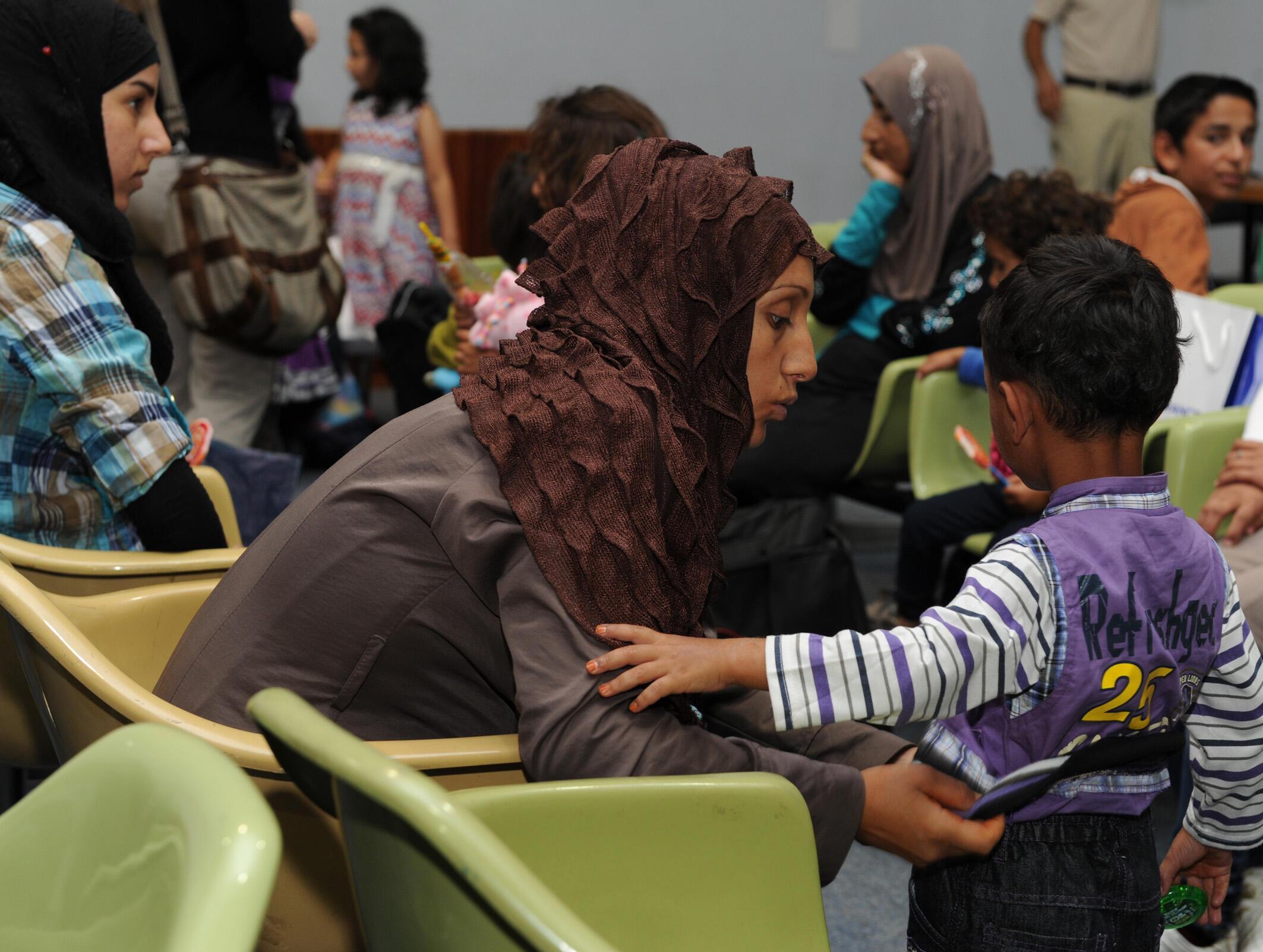 Familias sirias, a su llegada a Uruguay.