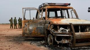 The car of a French aid group attacked by unidentified gunmen riding motorcycles on 9 August 2020 in the Kouré Reserve, about 60 km from Niamey. Six aid workers, their local guide and the driver were killed.