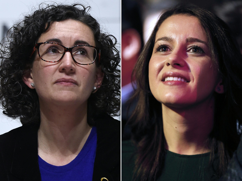 Marta Rovira, ứng viên đảng Cánh Tả Cộng Hòa Catalunya ERC (T) và Inès Arrimadas, lãnh đạo phong trào Ciudadanos tại Catalunya (P).