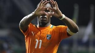 Côte d'Ivoire's Didier Drogba celebrates after they won their semi-final match against Mali
