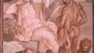 Hercule et Telephus. Fragment de décoration de la basilique d'Herculanum. (50-79 ap.J.C.)