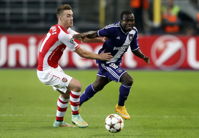 Face à Arsenal, le Gabonais Franck Acheampong a beaucoup tenté avec Anderlecht. En vain puisque les Anglais s'imposent 2-1.