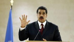 O presidente da venezuela, Nicolás Maduro, discursa no Conselho dos Direitos Humanos da ONU, em novembro de 2015, em Genebra.