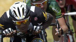 Le cycliste érythréen Daniel Teklehaimanot lors du Tour de France 2015.