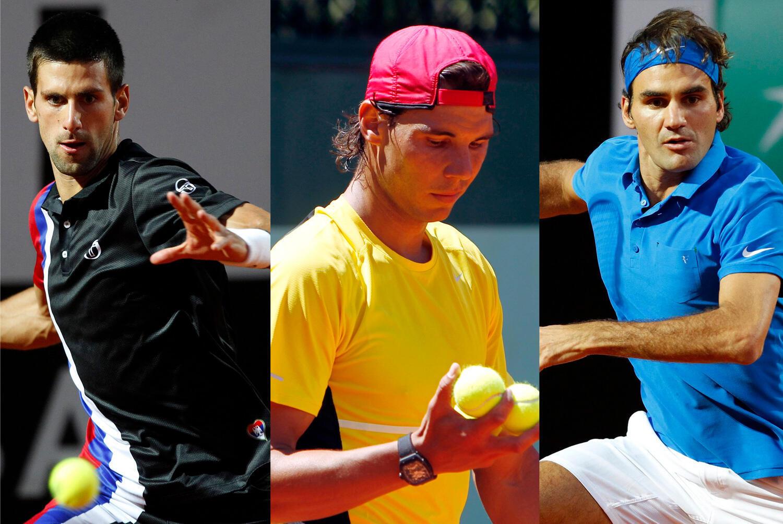 From left to right: Novak Djokovic, Rafael Nadal and Roger Federer