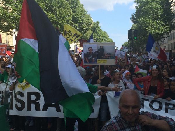 Manifestação pró-Palestina neste sábado em Paris