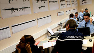 Gendarmes investigating arms trafficking the eastern city of Reims