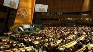 O presidente Nicolas Sarkozy durante discurso na ONU