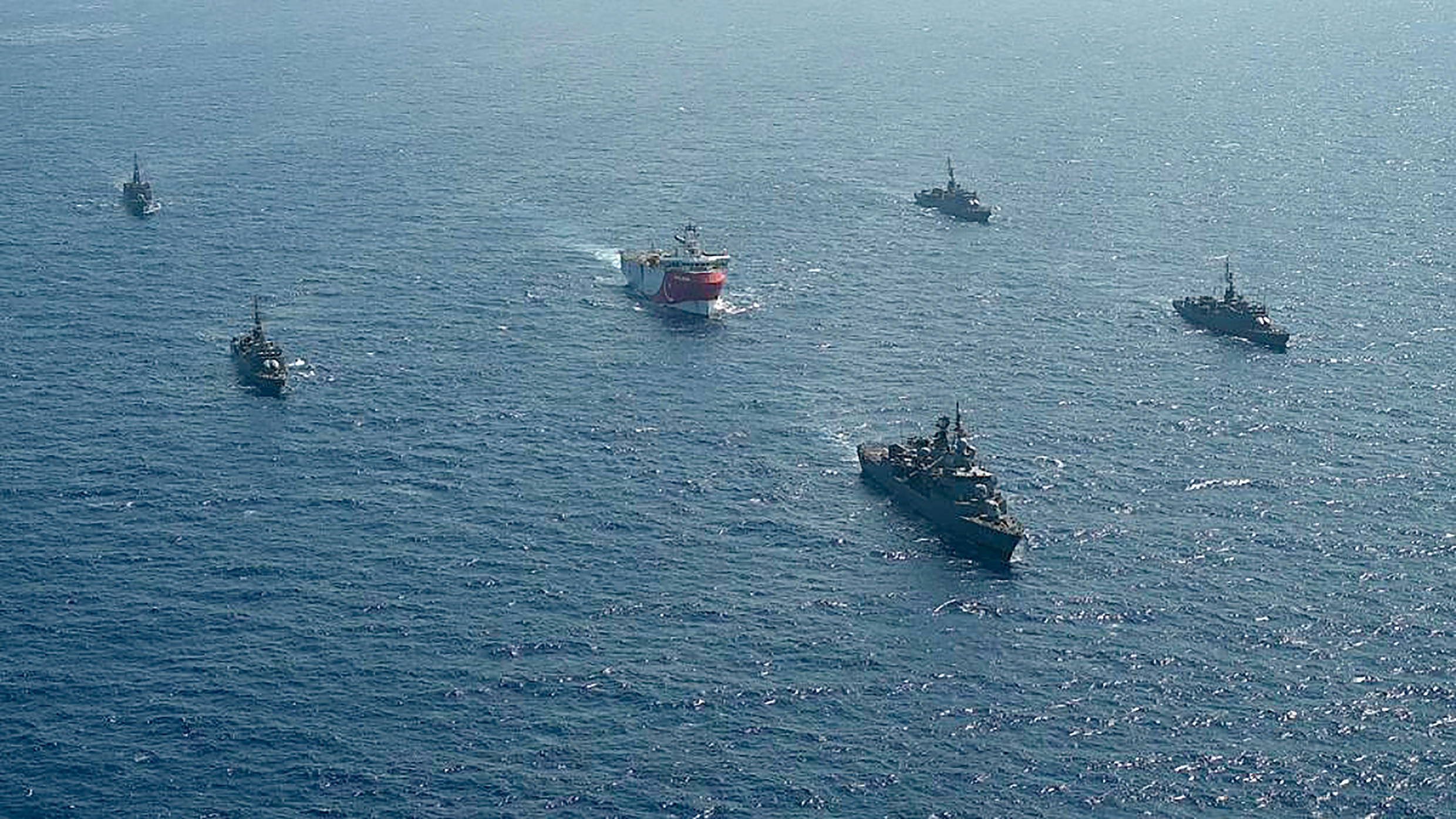 Turkey's Oruc Reis research vessels and its accompanying fleet of five warships in a disputed part of the Mediterranean