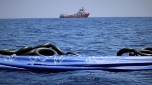 Le navire de sauvetage de migrants «Ocean Viking» au large des côtes italiennes et maltaises en août 2019.