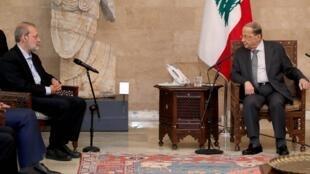 علی لاریجانی، رئیس مجلس شورای اسلامی ایران در دیدار با میشل عون، رییس جمهور لبنان