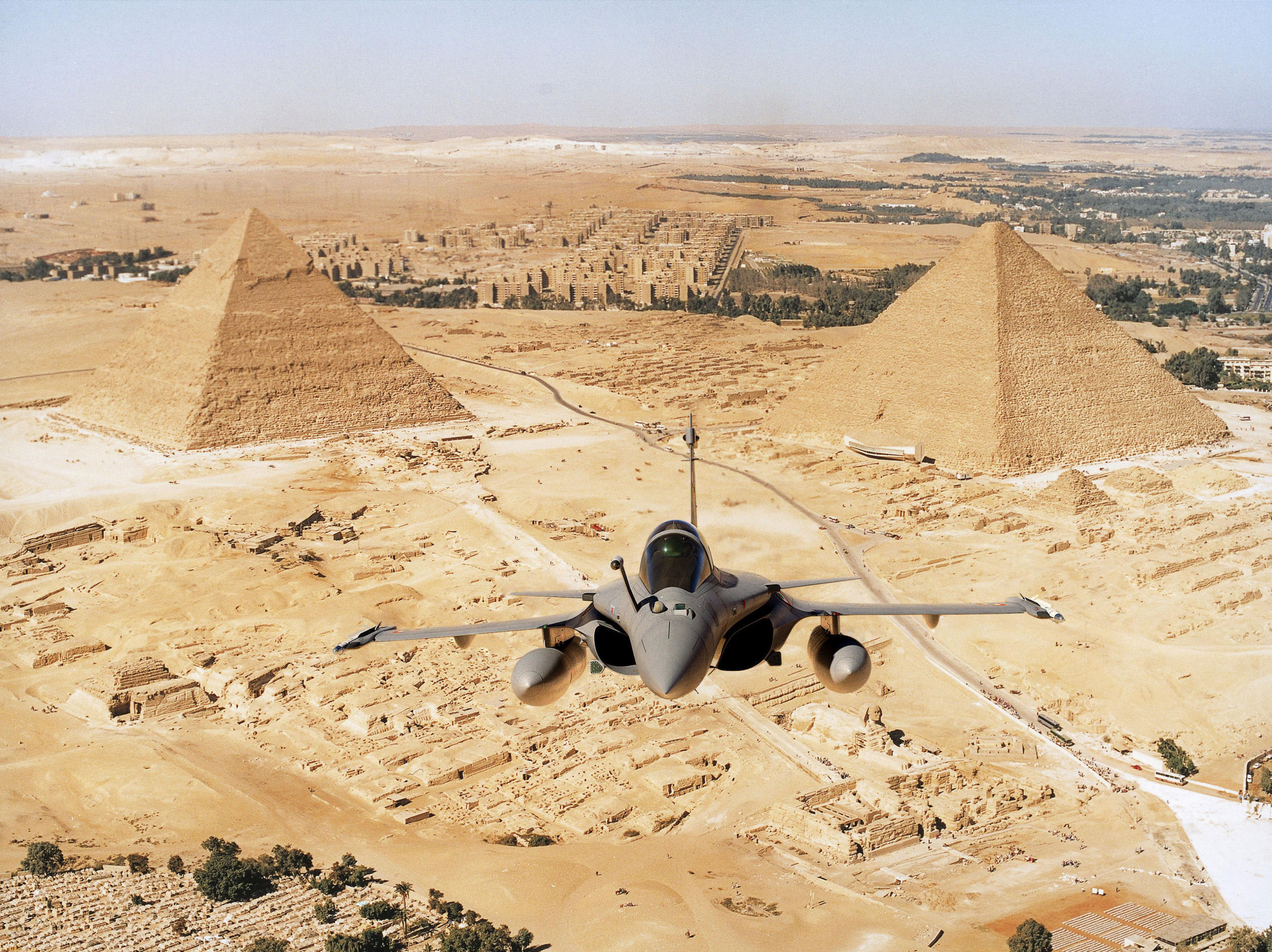 A Rafale flying over Egypt's pyramids.
