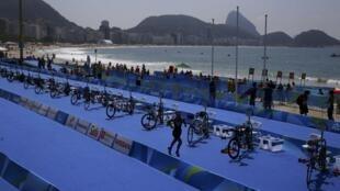 La Française Gwladys Lemoussu lors de l'épreuve du triathlon aux Jeux Paralympiques de Rio 2016.