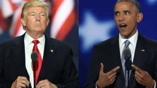 Shugaba Donald Trump na Amurka tare da Barack Obama