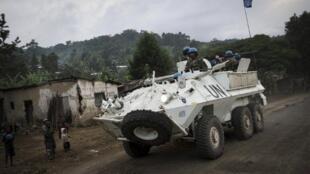 Patrouille de la Monusco entre Goma et Rutshuru le 12 mai 2012.