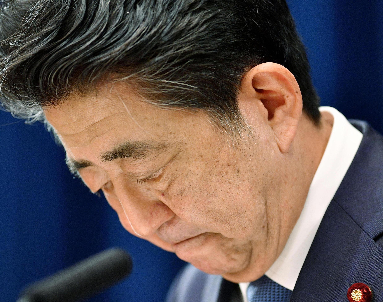Le Premier ministre japonais Shinzo Abe lors de l'annonce de sa démission le 28 août 2020.