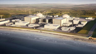 A computer generated image of the two nuclear reactors at Hinkley Point power plant in south-west England.