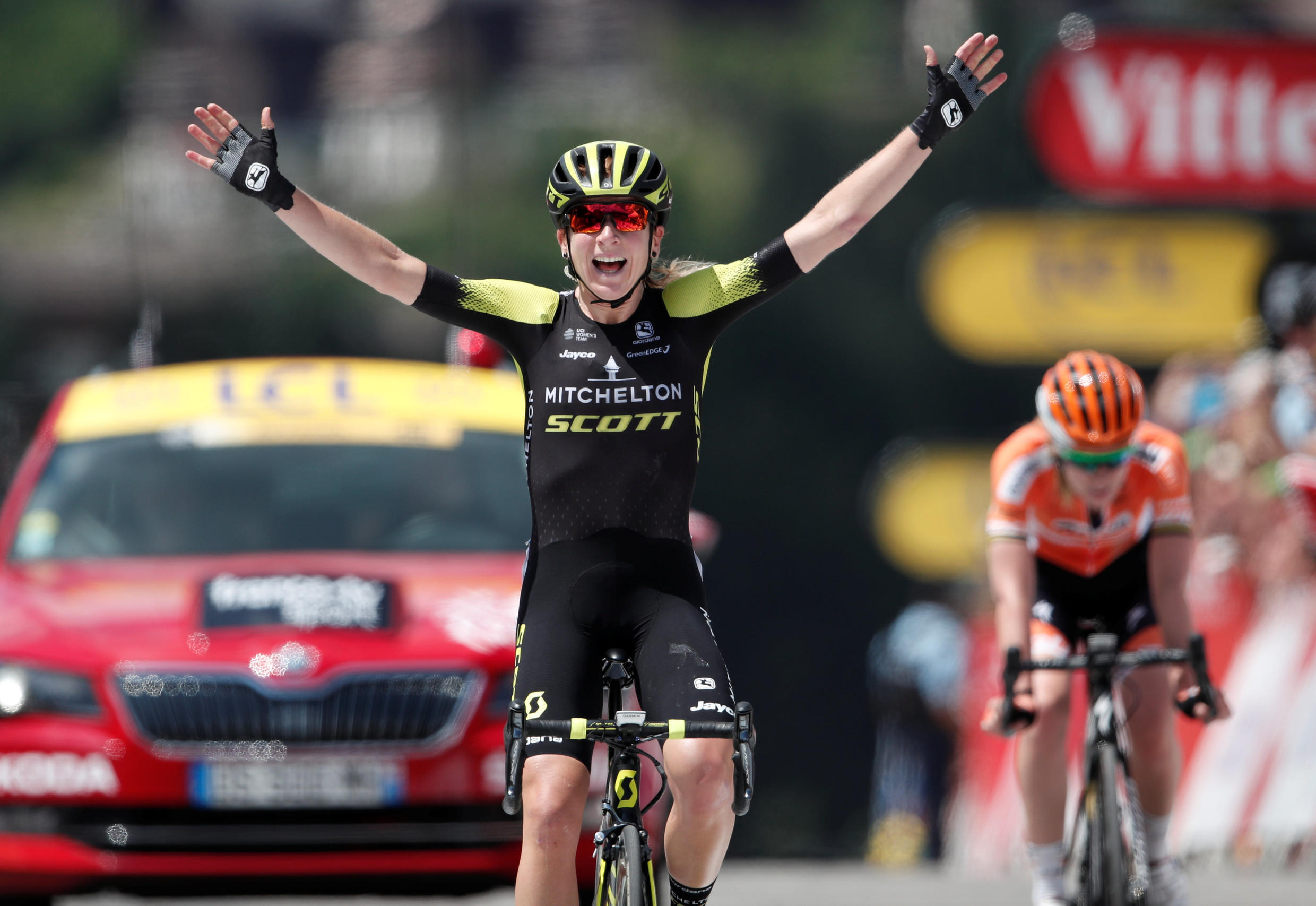 Cycling - 5th La Course by Le Tour de France - 112.5-km from Annecy to Le Grand-Bornand - July 17, 2018 - Mitchelton-Scott rider Annemiek van Vleuten of the Netherlands wins the race ahead of Boels-Dolmans rider Anna van der Breggen of the Netherlands