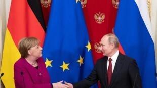Владимир Путин на совместной пресс-конференции с Ангелой Меркель. Москва. 11.01.2020