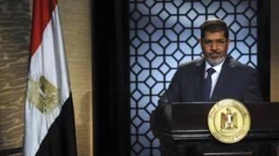 El presidente egipcio Mohamed Morsi se dirige al país el 24 de junio de 2012.