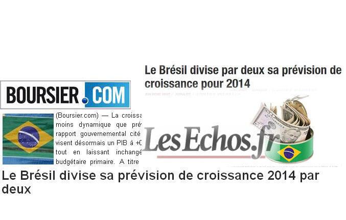 Fotomontagem dos sites Boursier.com e Les Echos.fr com previsões de crescimento da economia brasileira.
