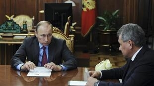 Russian President Putin with Defence Minister at the Kremlin in Moscow on 14 March, 2016